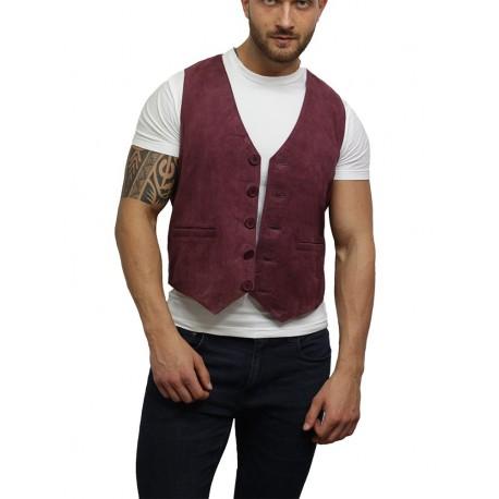 Mens Soft Real Goat Suede Leather Burgundy Smart Waistcoat Vest