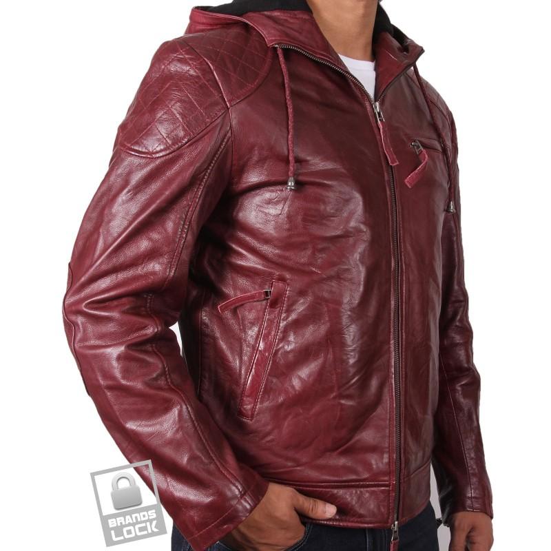Men s burgundy leather bomber jacket majento