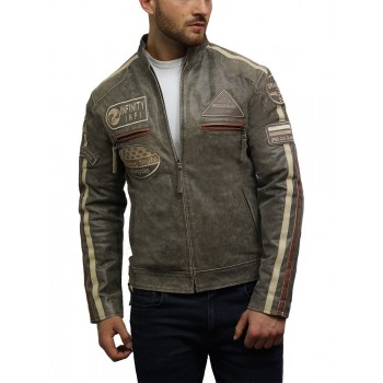 Men's Motorbike Leather Biker Jacket