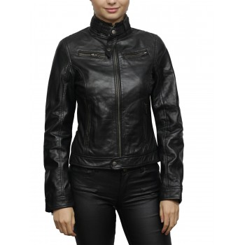 Women's Black Short Nappa Leather Jacket
