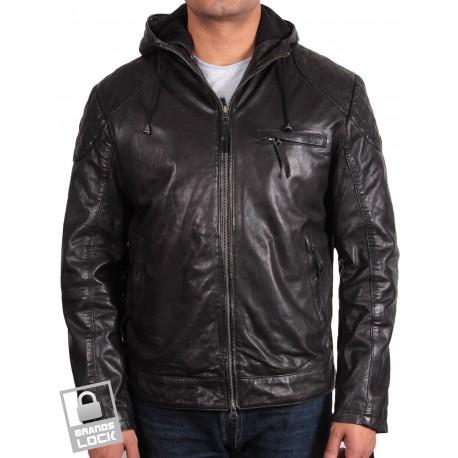 Men's Black Leather Bomber Jacket - Majento