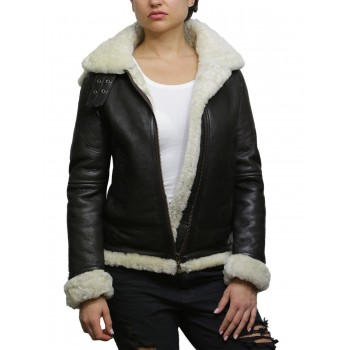 Ladies Women's Cream Hooded Aviator Real Shearling Sheepskin Flying Leather Jacket Coat-Callie