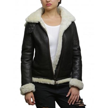Ladies Women's Cream Hooded Aviator Real Shearling Sheepskin Flying Leather Jacket Coat-Callie