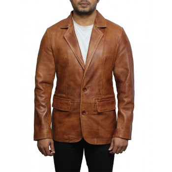 Men's Tan Leather Blazer Jacket - Nicolas