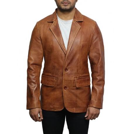 Men's Tan Leather Blazer Jacket - Nicolas