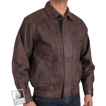 Men's Antique Brown Leather Bomber Jacket - Marvel