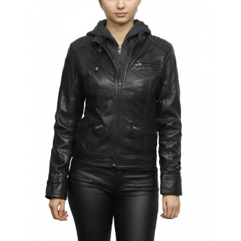 Women's Short Hooded Leather Biker Jacket Roxanne-Black