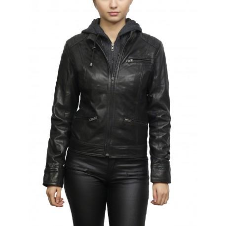 Women's Black Short Geunine Leather Biker Jacket