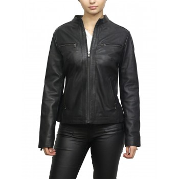 Women's Black Short Geunine Leather Biker Jacket