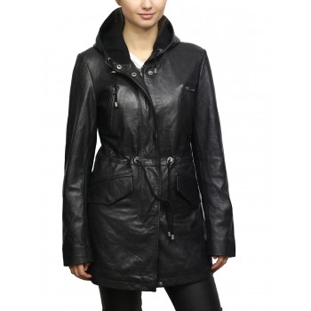 Women's Black Leather Parka Mid-Length Quilted Hooded Trench Coat