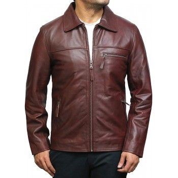 Mens Leather Jacket Vintage Burgundy Cowhide