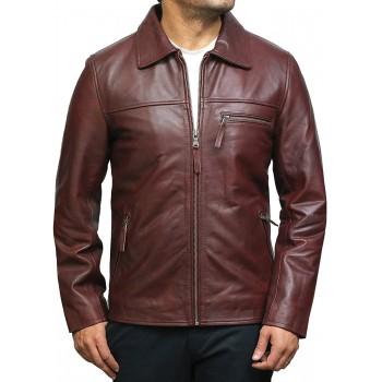 Vintage Blue Mens Leather Biker Jacket
