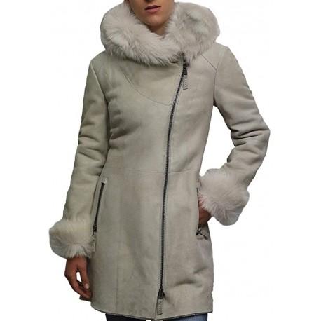 Women's White Suede Leather Sheepskin Hooded long coat