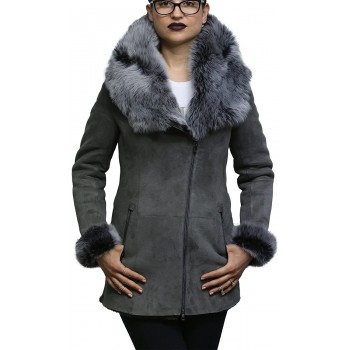 Women's Grey Suede Leather Sheepskin Hooded long coat