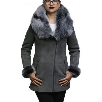 Women's Grey Suede Leather Sheepskin Hooded long coat