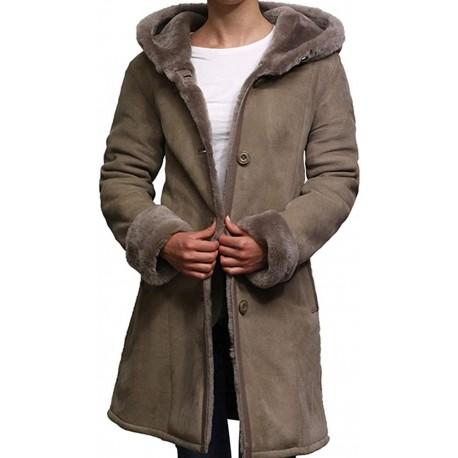 Women Shearling Sheepskin Jacket Coat Anexe-Taupe