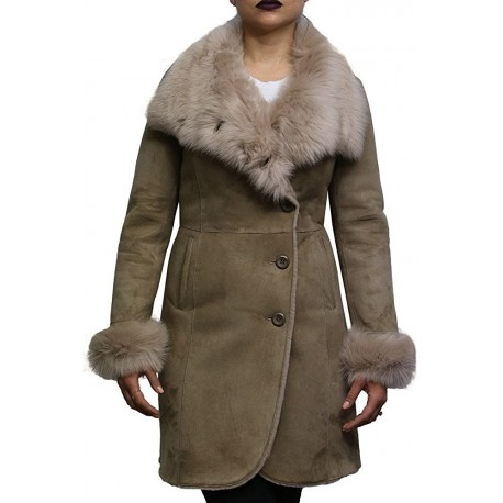 Women Shearling Sheepskin Coat Suede Nikita-Beige