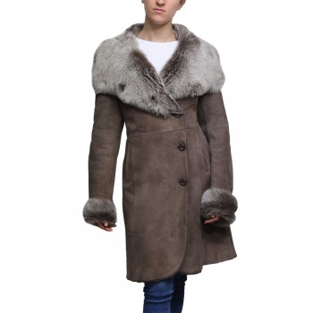 Women Shearling Sheepskin Coat Suede Nikita-Smoke