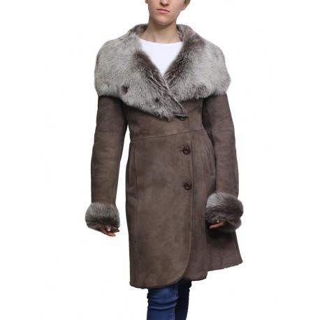 Women Shearling Sheepskin Coat Suede Nikita-Smoke