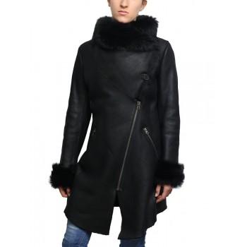 Women Shearling Sheepskin Suede Coat Merino Toscana Collar Black