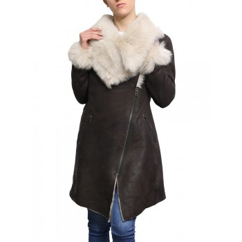 Women Shearling Sheepskin Suede Coat Merino Toscana Collar Brown Cream