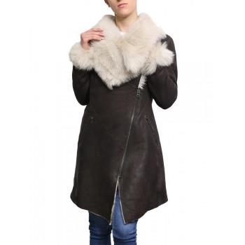 Women Shearling Sheepskin Suede Coat Merino Toscana Collar Brown Cream