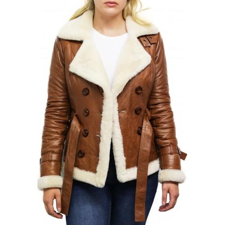 Women Tan Leather Blazer Jacket - Upton
