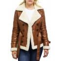 Women Tan Leather Blazer Jacket