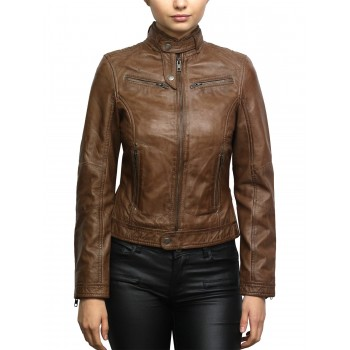 Women's Brando Leather Biker Jacket Brown