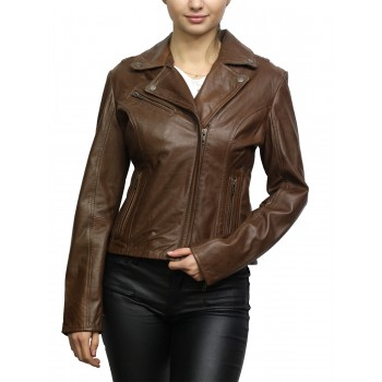 Women's Leather Biker Jacket Brando Tan