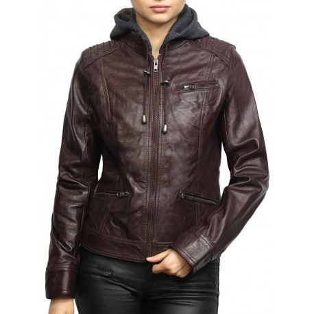 Women's Short Hooded Leather Biker Jacket Roxanne-Burgundy