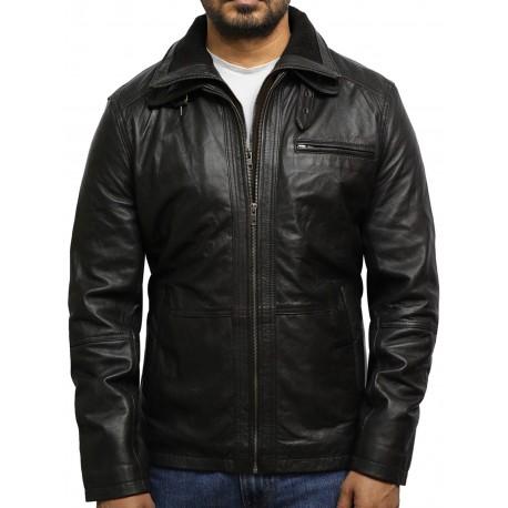 Men's Medial-Length Brown Napa Leather Jacket