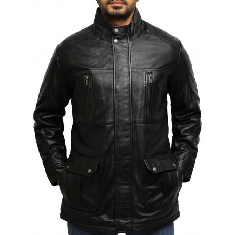 Men's Black Quilted Reefer Jacket