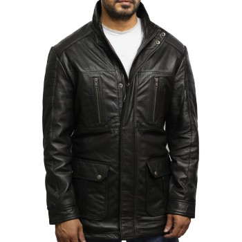 Men's Brown Quilted Multi-Pocket Reefer Jacket