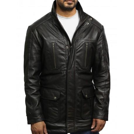 Men's Brown Quilted Reefer Jacket
