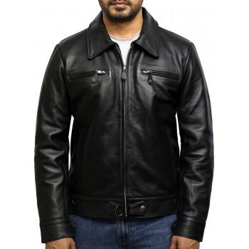 Men's Mid Length Black Napa Leather Jacket