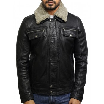 Men's Trucker Black Detachable Collar Coat