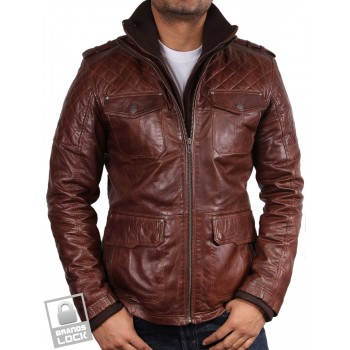Men's Brown Leather Bomber Jacket - Warwick