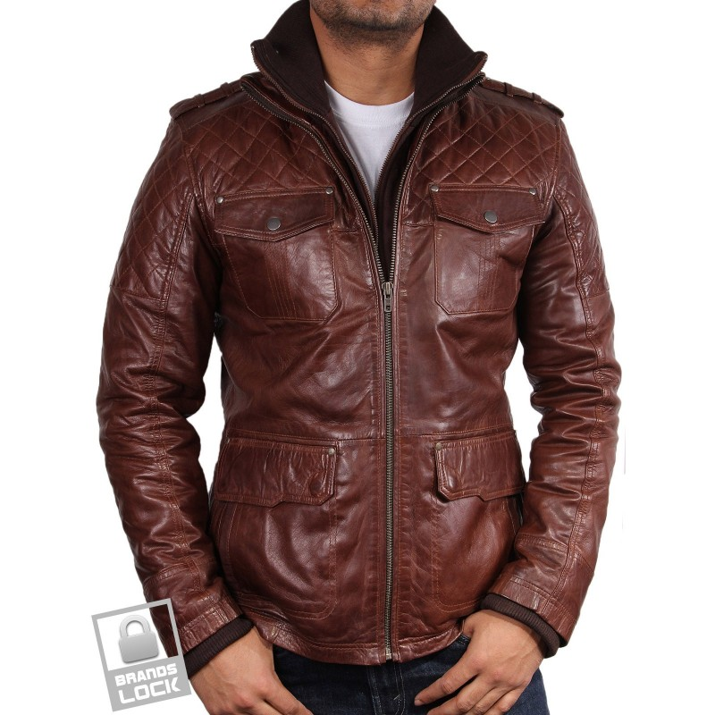 Brown leather aviator jacket men