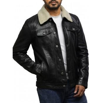 Men's Trucker Black Detachable Collar Jacket