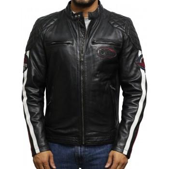 Men's Leather Badged Biker Jacket Black Vintage