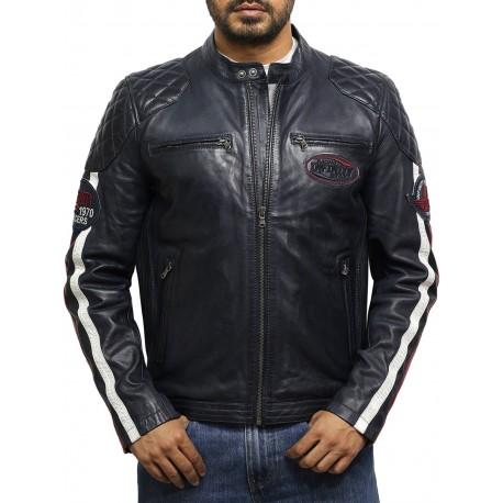 Men's Leather Biker Jacket Blue