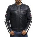 Men's Leather Badged Biker Jacket Navy Vintage