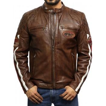 Men's Leather Badged Biker Jacket Tan Vintage