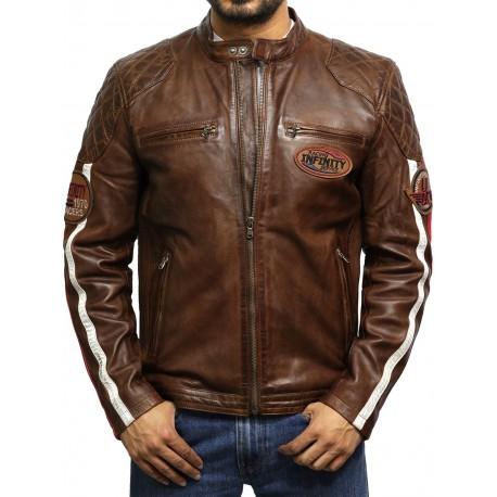 Men's Leather Biker Jacket Tan