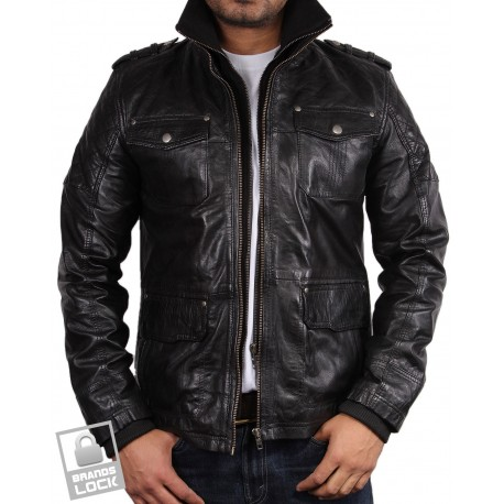 Men's Black Leather Bomber Jacket - Warwick