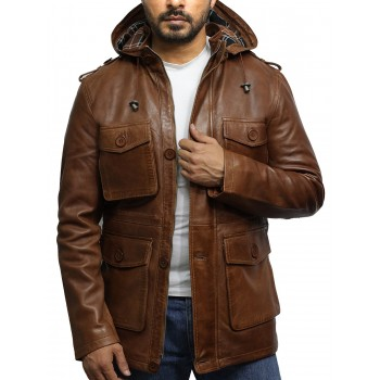 Men's Brown Leather Hooded Trench Coat
