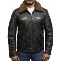 Men's Black Rub Off Distressed Removable Collar Leather Jacket