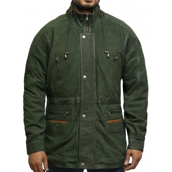 Mens Winter Parka Green Coat Retro