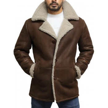 Men's Brown Genuine Shearling Sheepskin German Long Coat